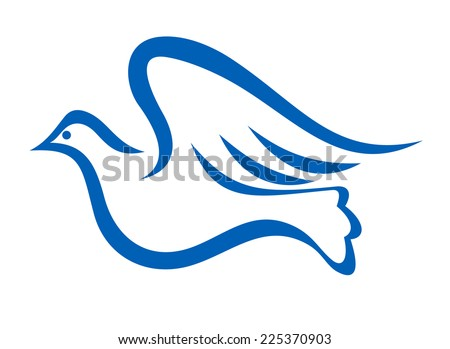 Minimalist blue illustration of a dove flying, symbol of peace and freedom, isolated on white background - stock photo