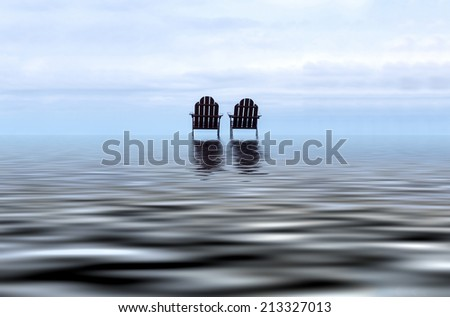 minimalist conceptual relaxing chair in the middle of ocean. digital compositing with colour tone, water reflection and ripple effects. - stock photo