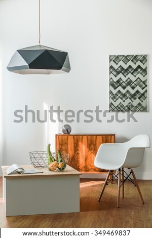 Minimalist creative room for young trendy person - stock photo