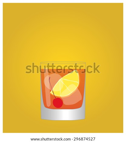 Minimalist Drinks List with Old Fashioned Golden Background - stock photo