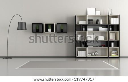 minimalist empty livingroom with bookcase - rendering - stock photo