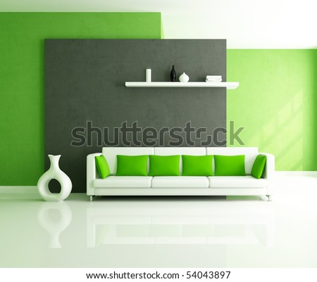 minimalist green and balck interior with modern couch - stock photo