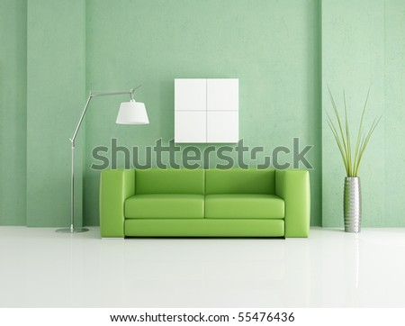 minimalist green and white lounge - rendering - stock photo