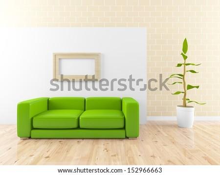 minimalist green  lounge  - stock photo