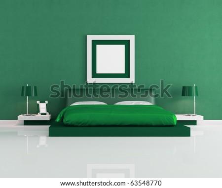 minimalist green modern bedroom - rendering - stock photo