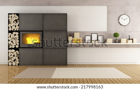 Minimalist iron fireplace in a contemporary living room - rendering - stock photo