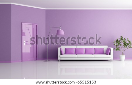 minimalist lilla living room with door and couch - rendering - stock photo