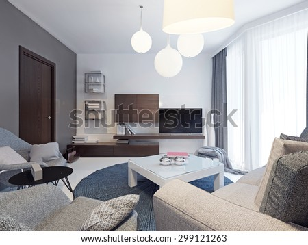 Minimalist living room interior. Beautiful bright room with colorful original form walls, floor to ceiling windows and beautiful poured concrete floors white. 3D render - stock photo