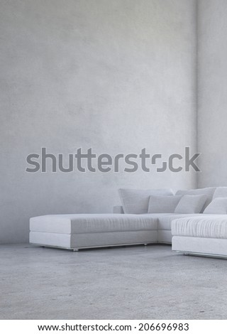 Minimalist living room interior with an upholstered corner suite against a double volume bare mottled grey wall in an architectural background - stock photo