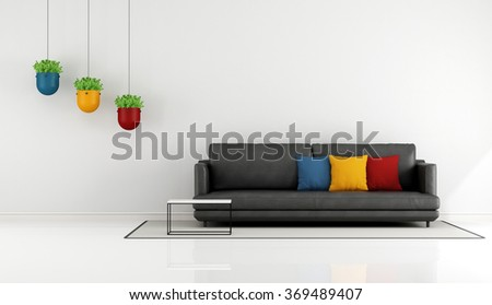 Minimalist living room with black sofa and colorful cushion - 3D Rendering - stock photo
