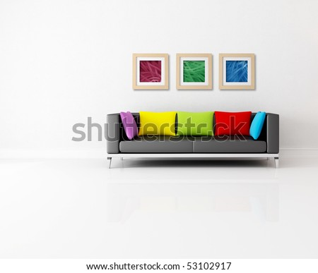 minimalist living room with colored couch and abstract picture - the images on wall are my composition - stock photo
