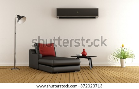 Minimalist living room with couch and air conditioner  on wall - 3D Rendering - stock photo