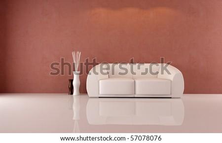 minimalist living room with elegant white sofa - rendering - stock photo