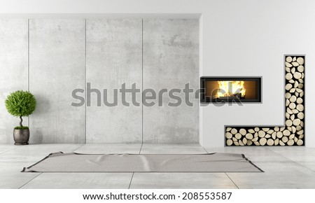 Minimalist living room with fireplace without furniture - stock photo