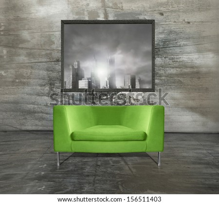 Minimalist modern acid green armchair with a imagine above it in a unusual interior environment   - stock photo