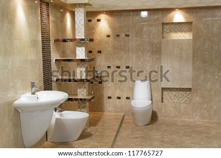 minimalist modern bathroom style of luxury  interior - stock photo
