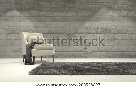 Minimalist monochromatic living room interior with grey decor and a single armchair standing on a rug in front of a cement brick wall with copyspace. 3d Rendering. - stock photo