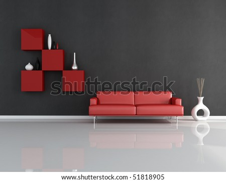 minimalist red and blck lounge - rendering - stock photo