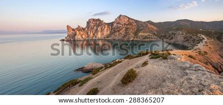 Minimalist Seascape. Coastal Sunrise. Ukraine. Crimea. - stock photo