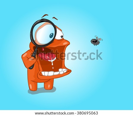 Minimalist wallpaper scrutiny of a fly with a magnifying glass. - stock photo
