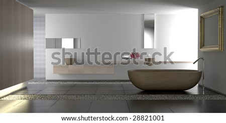 Minimalist white bathroom with stone bathtub and pebbles (3D render) - stock photo