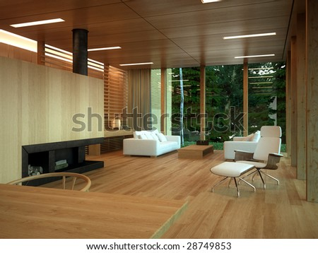 Minimalist wood-paneled lounge in private home (3D render) - stock photo