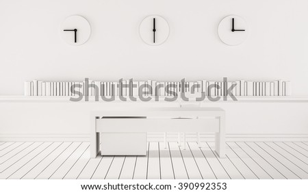 Minimalist working space with three different time zone clocks on wall, 3d rendered - stock photo