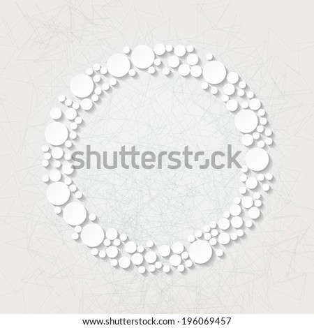 Minimalistic background with white origami circular frame. Raster version - stock photo