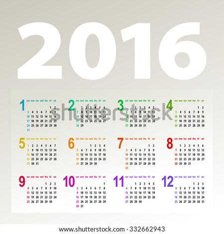 minimalistic bright multicolor 2016 calendar design - week starts with sunday - stock photo