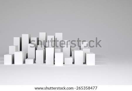 Minimalistic city of white cubes. Gray background. Concept of urban construction - stock photo