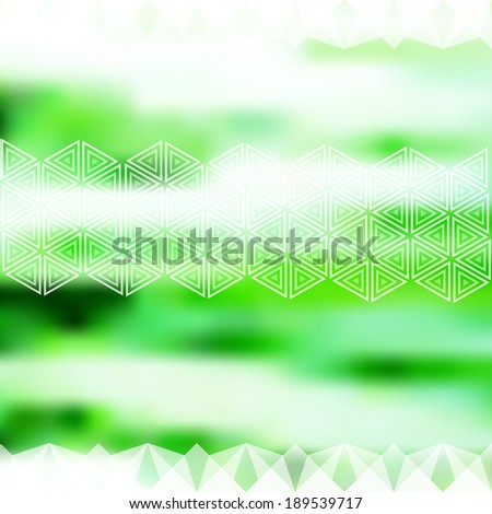 Minimalistic green defocused background with geometric ornament. Raster version - stock photo