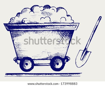 Mining cart. Doodle style. Raster version - stock photo