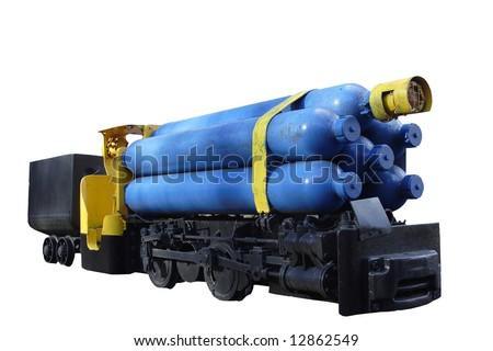 mining engine with mine cart - coal mine - stock photo