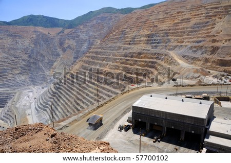 Mining Equipment Maintenance Shop at Copper Mine - stock photo
