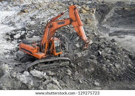 Mining, the kovshovy excavator - stock photo