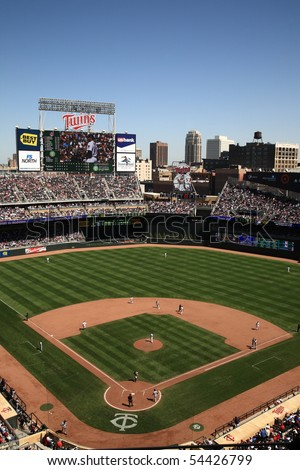 MINNEAPOLIS - APRIL 22: Brand new Target Field, home of the Minnesota Twins, a ballpark that returns outdoor baseball to the city, on April 22, 2010 in Minneapolis, Minnesota. - stock photo