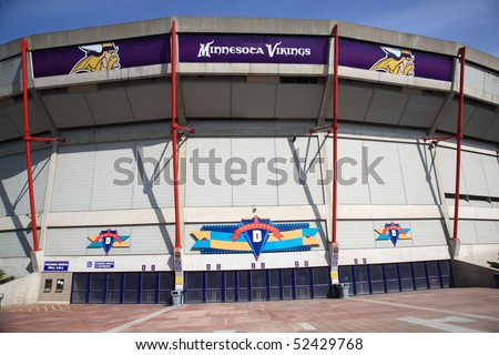 MINNEAPOLIS - APRIL 21: Recently renamed Mall of America Field at the Hubert H. Humphrey Metrodome, home of the Minnesota Vikings, on April 21, 2010 in Minneapolis, Minnesota. - stock photo