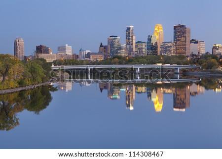 Minneapolis. Image of Minneapolis downtown skyline at twilight. - stock photo