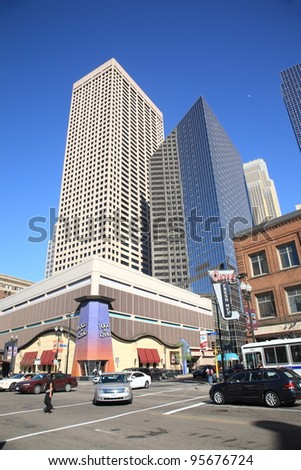"""MINNEAPOLIS, MINNESOTA - APRIL 21: Busy street corner on April 21, 2010 in Minneapolis, Minnesota. Nicknamed the """"Mill City,"""" Minneapolis is the primary business center between Chicago and Seattle. - stock photo"""