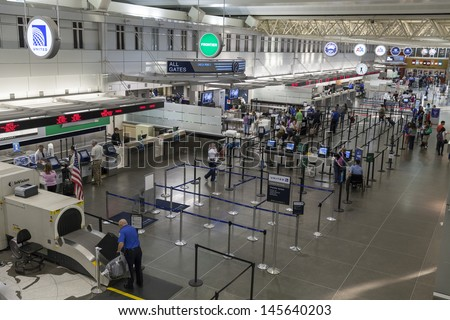 MINNEAPOLIS, MN - JULY 02,  - Minneapolis Airport on July 02, 2013  in Minnesota. MSP International Airport serves 135 nonstop markets, including 120 domestic and 15 international. - stock photo