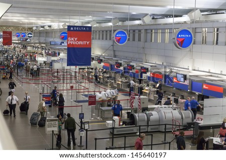 MINNEAPOLIS, MN - JULY 02,  - Minneapolis Airport on July 02, 2013  in Minnesota. The $8.5 million terminal one is 600,000 square foot (56,000 m2) with 24 gates on two concourses. - stock photo