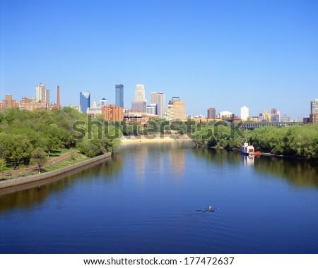 Minneapolis Skyline and Mississippi River, Minnesota - stock photo