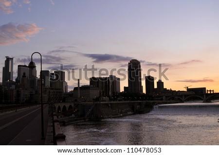 Minneapolis skyline at dusk - stock photo