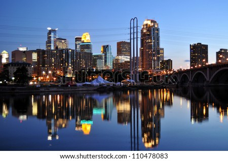 Minneapolis skyline at dusk - stock photo