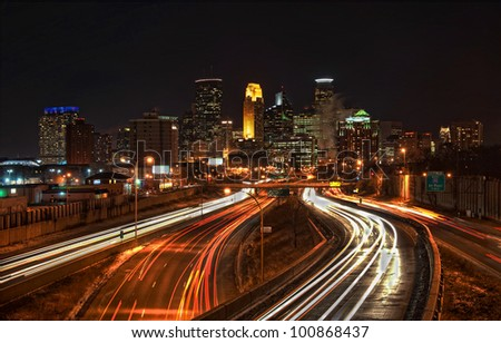 Minneapolis Skyline from Highway I-35 - stock photo