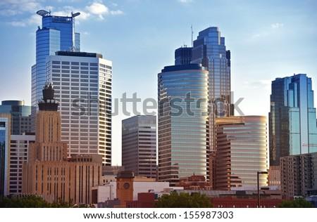Minneapolis Skyline - Minneapolis Downtown Architecture. Minnesota State, USA. American Cities Photo Collection. - stock photo