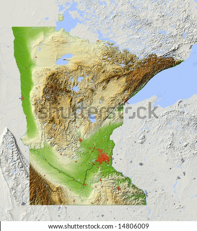 Minnesota. Shaded relief map, with major urban areas, surrounding territory greyed out. Colored according to elevation. Clip path for the state area included. Data sources: US Census Bureau, NASA - stock photo