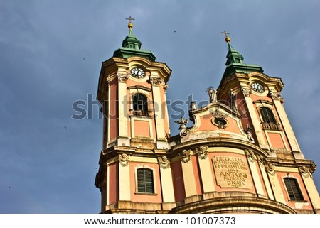 Minorite church in the middle of Eger, Hungary. - stock photo