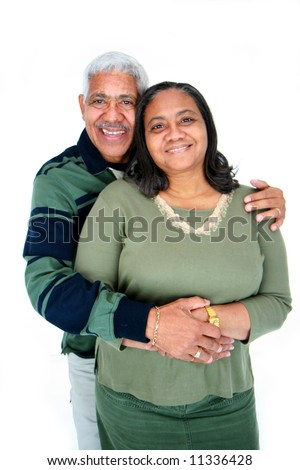 Minority couple set against a white background - stock photo