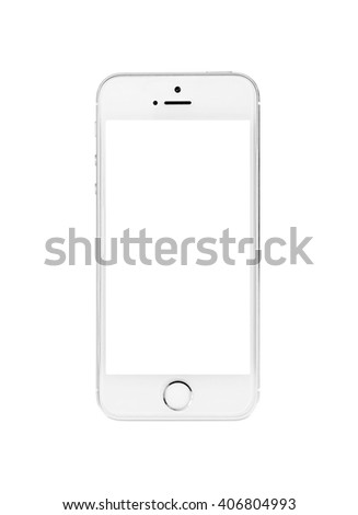 Minsk, Belarus - April 16, 2016: Apple iPhone 5, 5S. White version. The operating system iOS 9. Apple Inc. Located in USA. - stock photo